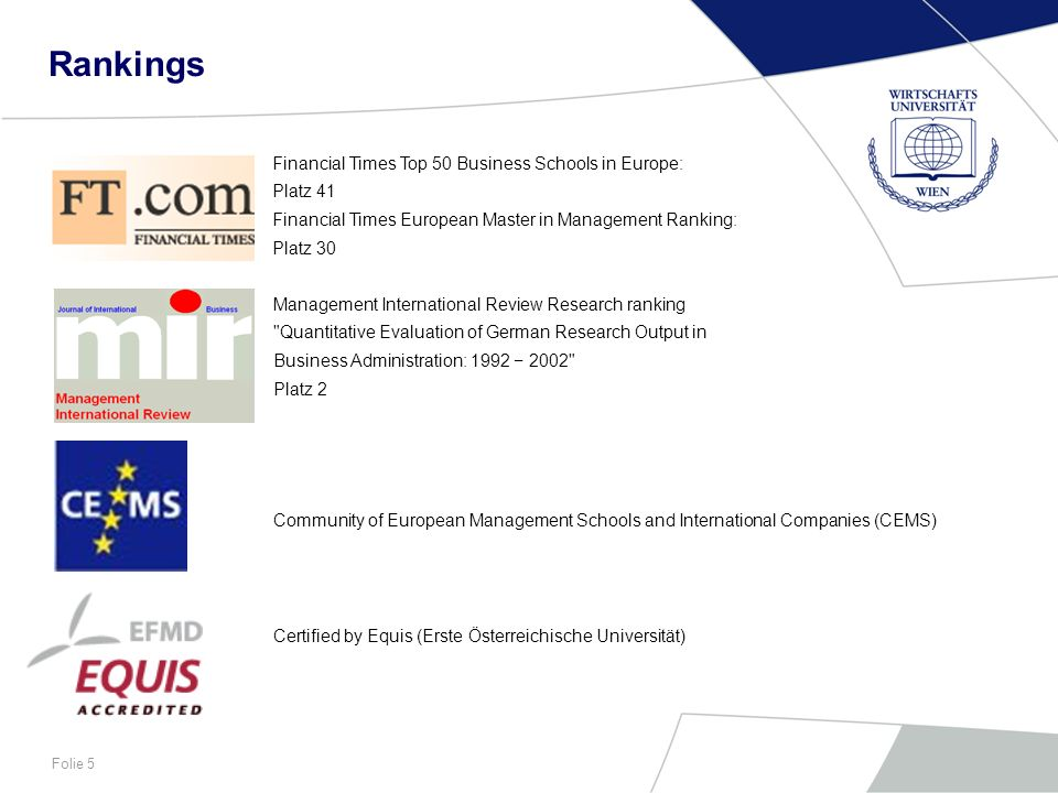 Rankings Financial Times Top 50 Business Schools in Europe: Platz 41