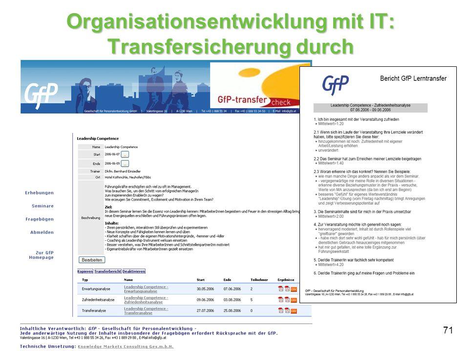 Organisationsentwicklung mit IT: Transfersicherung durch Transferevaluation