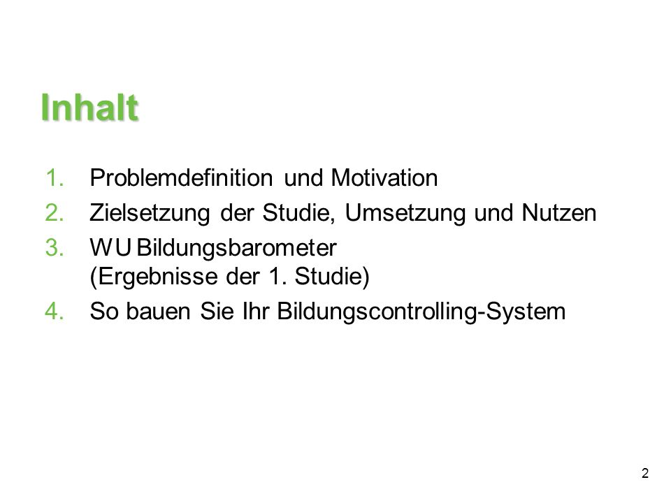 Inhalt Problemdefinition und Motivation