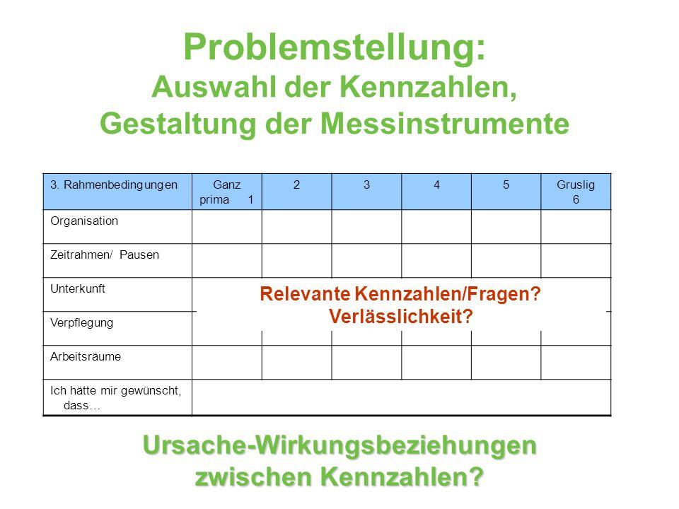 Problemstellung: Auswahl der Kennzahlen, Gestaltung der Messinstrumente
