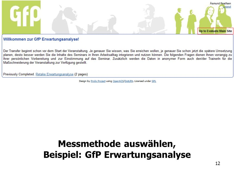 Messmethode auswählen, Beispiel: GfP Erwartungsanalyse