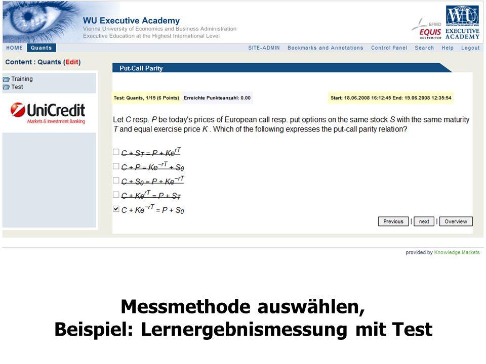 Messmethode auswählen, Beispiel: Lernergebnismessung mit Test