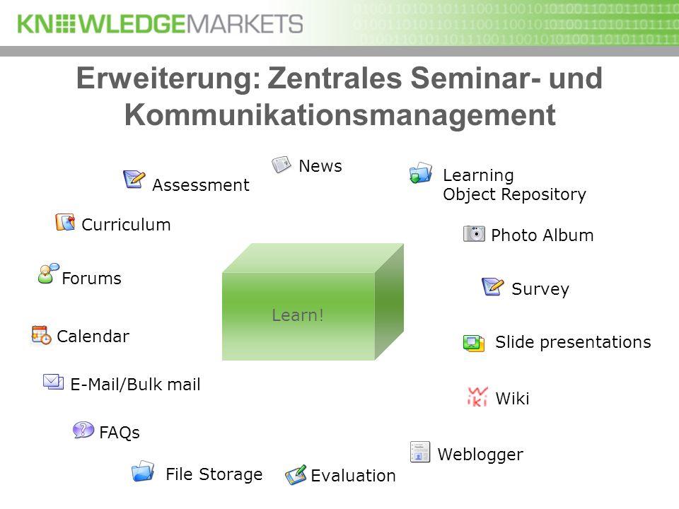 Erweiterung: Zentrales Seminar- und Kommunikationsmanagement