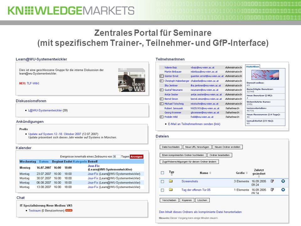 Zentrales Portal für Seminare (mit spezifischem Trainer-, Teilnehmer- und GfP-Interface)