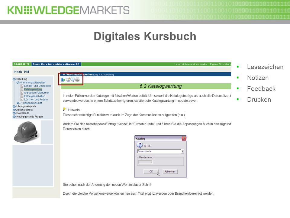 Digitales Kursbuch Lesezeichen Notizen Feedback Drucken