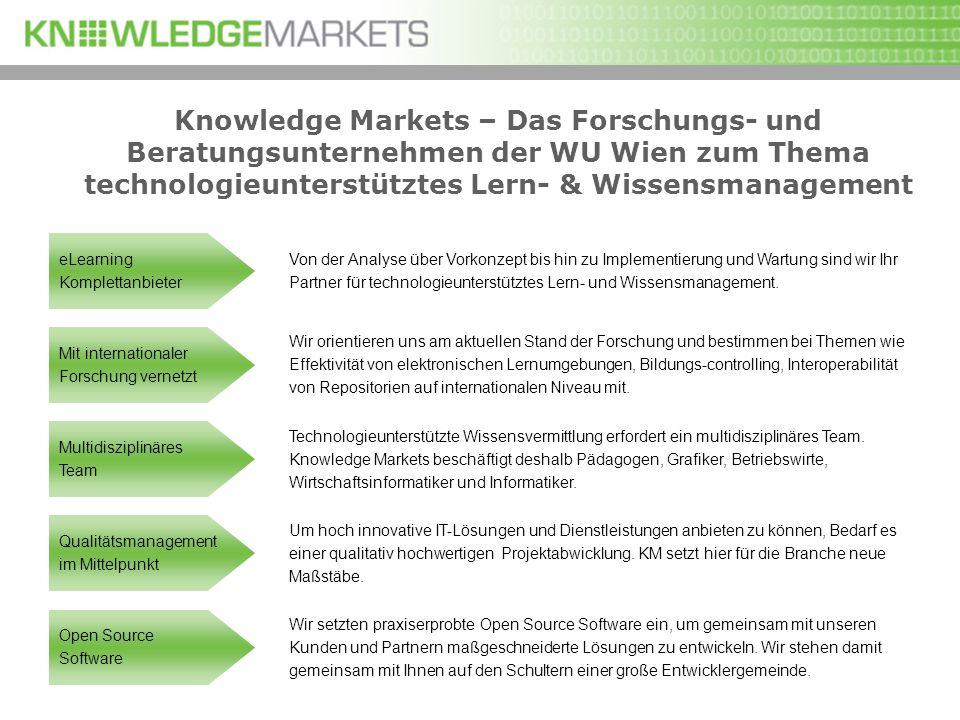 Knowledge Markets – Das Forschungs- und Beratungsunternehmen der WU Wien zum Thema technologieunterstütztes Lern- & Wissensmanagement