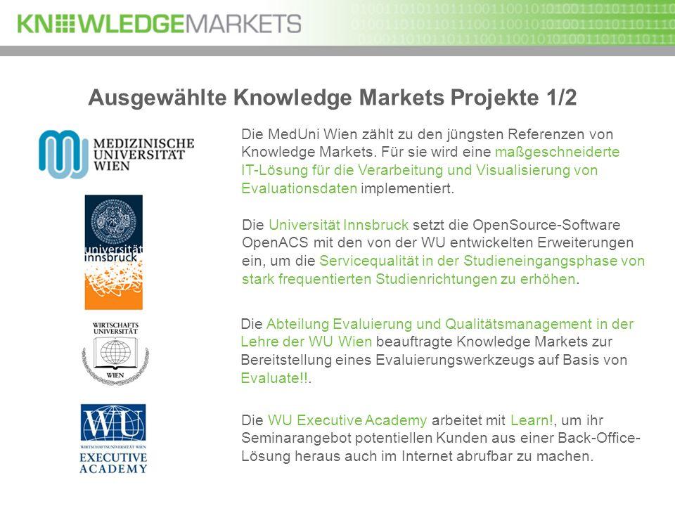 Ausgewählte Knowledge Markets Projekte 1/2
