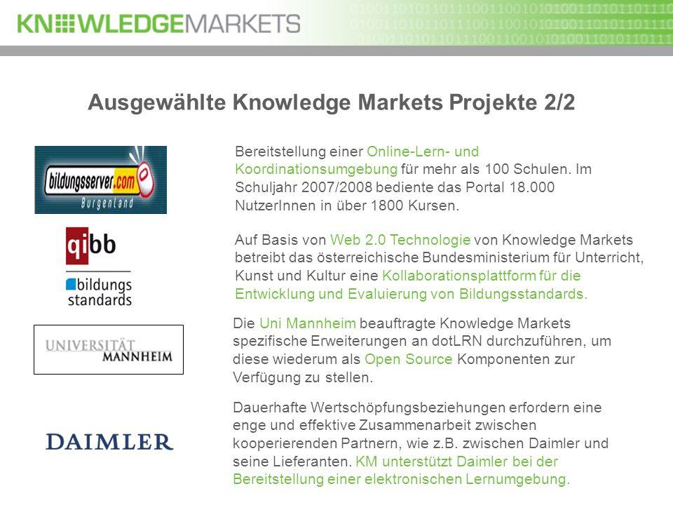 Ausgewählte Knowledge Markets Projekte 2/2