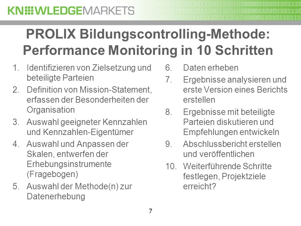PROLIX Bildungscontrolling-Methode: Performance Monitoring in 10 Schritten