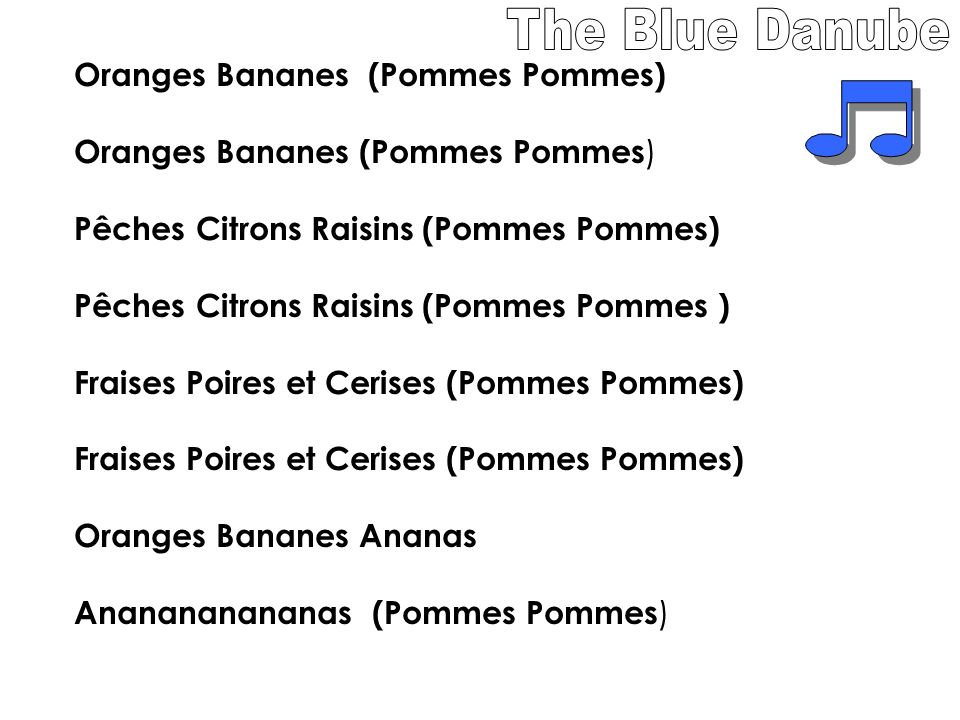 The Blue Danube Oranges Bananes (Pommes Pommes)