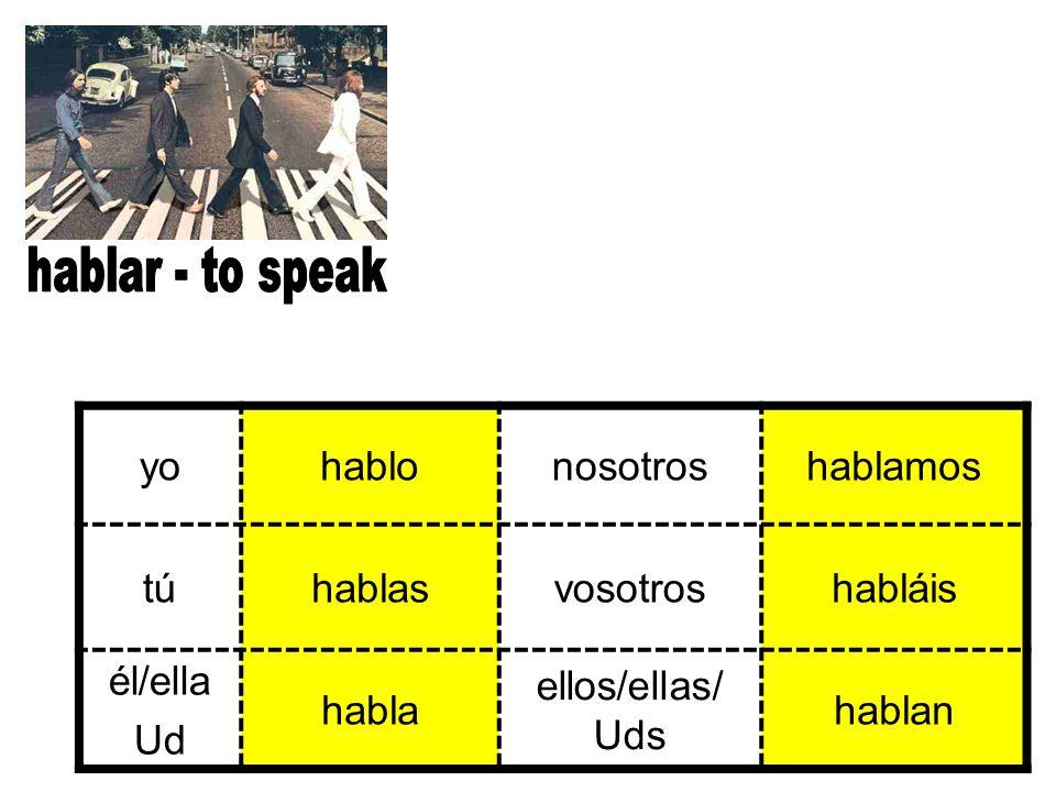 hablar - to speak yo. hablo. nosotros. hablamos. tú. hablas. vosotros. habláis. él/ella. Ud.