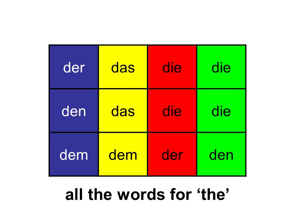 der das die den dem all the words for 'the'