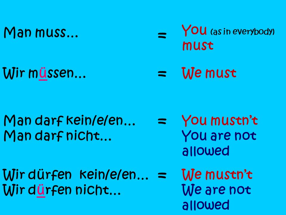 = = = = You (as in everybody) must Man muss… Wir müssen… We must