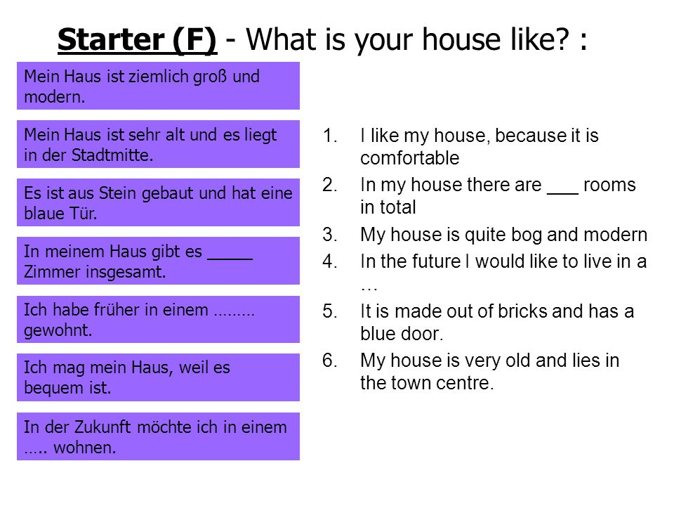 Starter (F) - What is your house like :