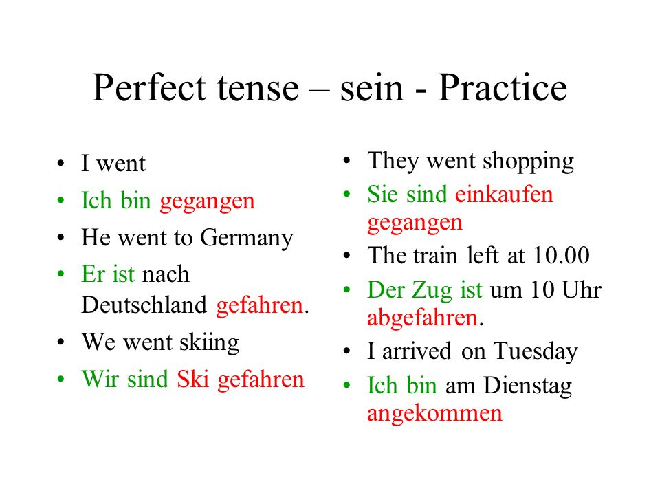 Perfect tense – sein - Practice