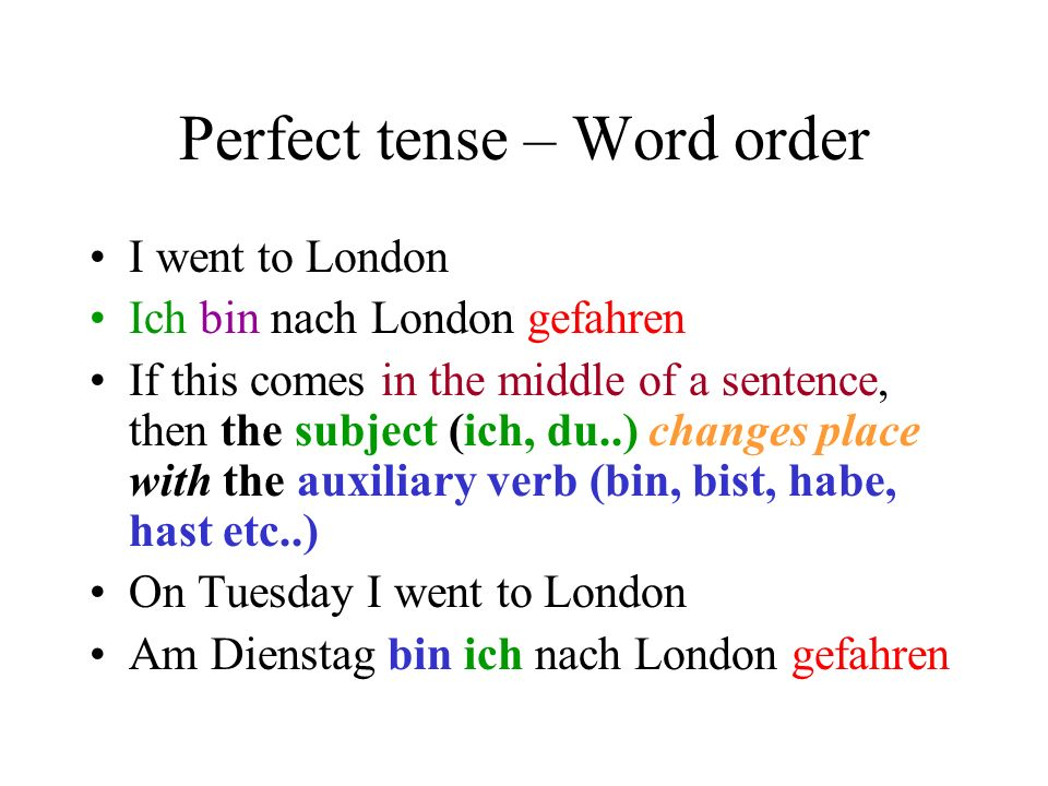 Perfect tense – Word order