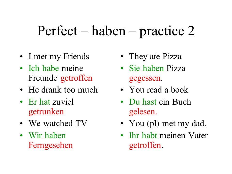 Perfect – haben – practice 2