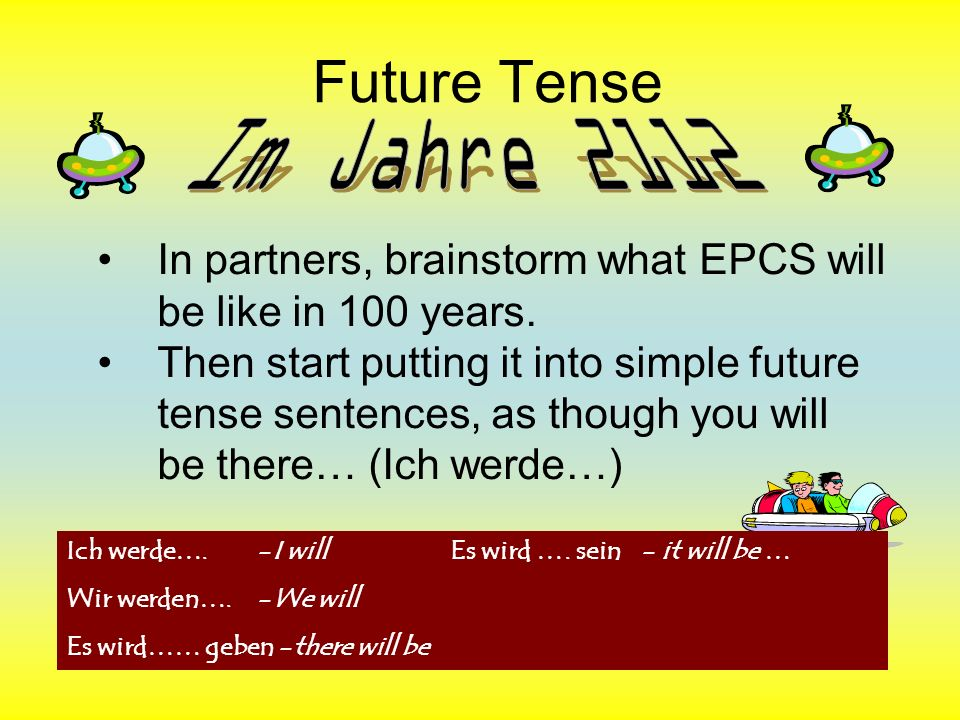 Future Tense Im Jahre 2112. In partners, brainstorm what EPCS will be like in 100 years.