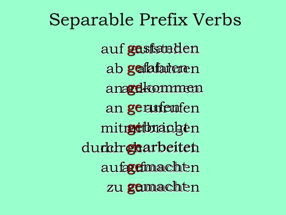 Separable Prefix Verbs