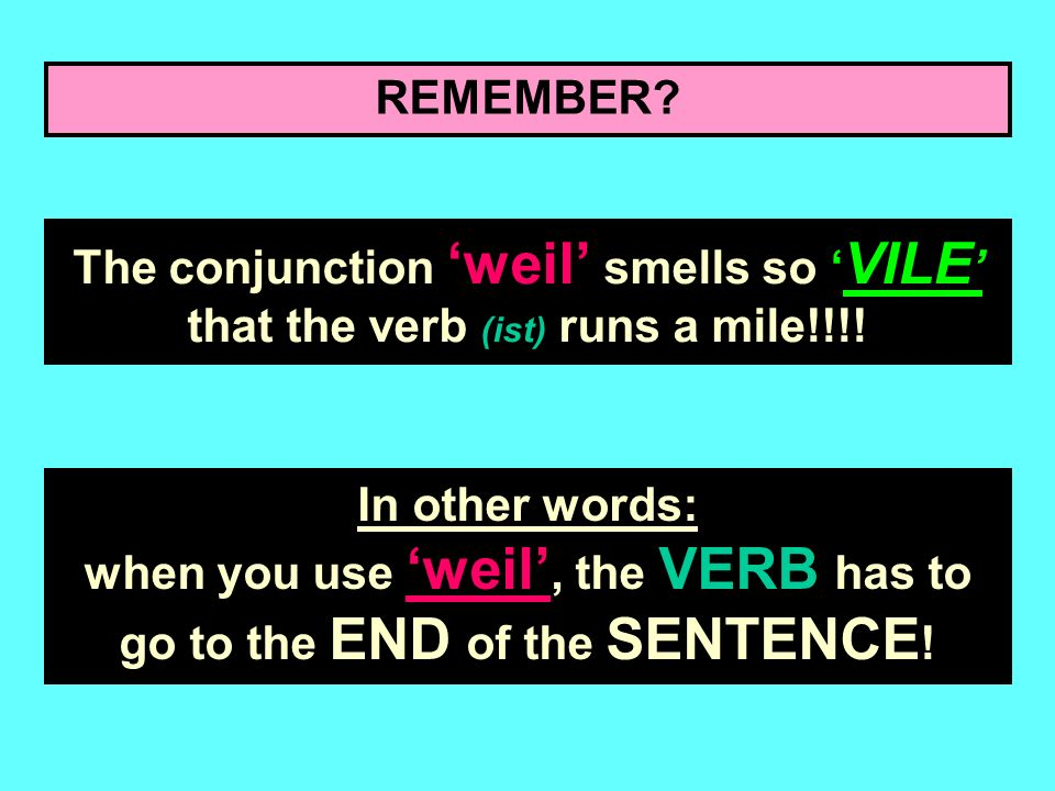 REMEMBER The conjunction 'weil' smells so 'VILE' that the verb (ist) runs a mile!!!!