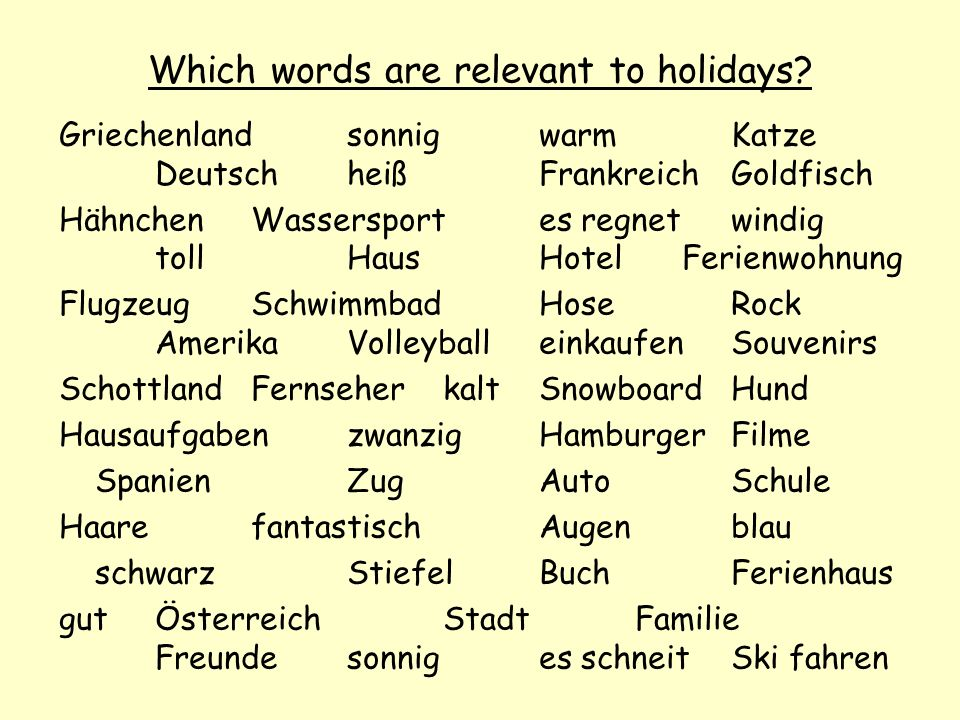 Which words are relevant to holidays