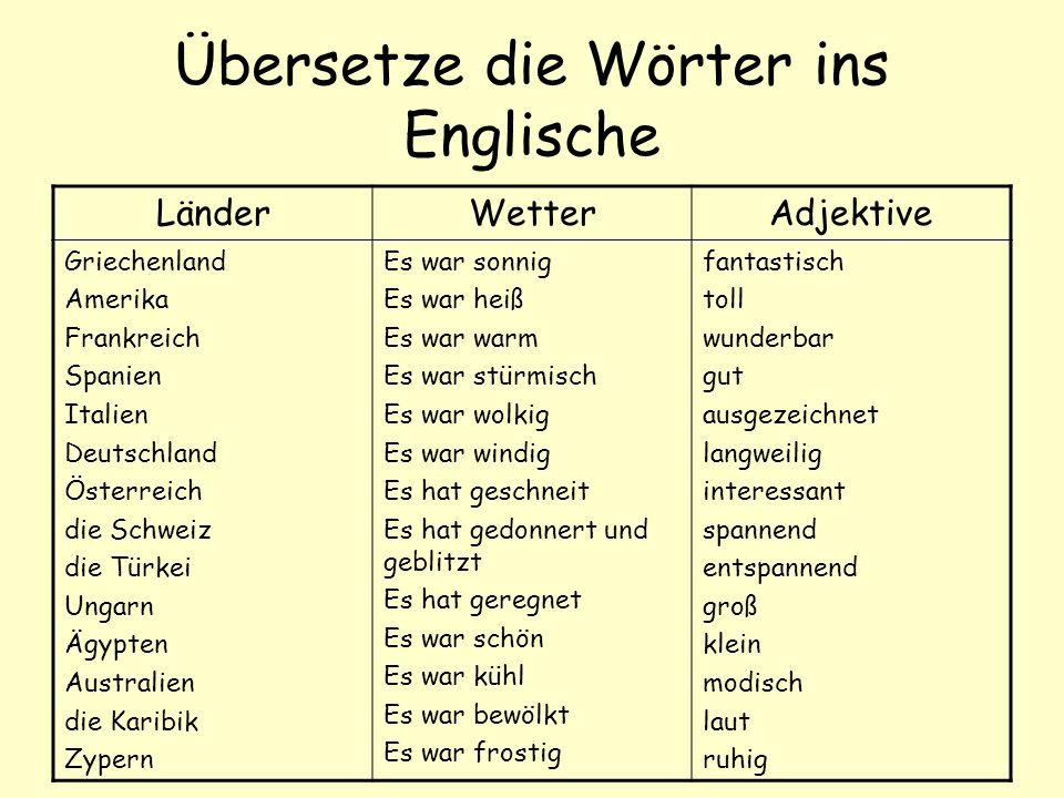 Übersetze die Wörter ins Englische