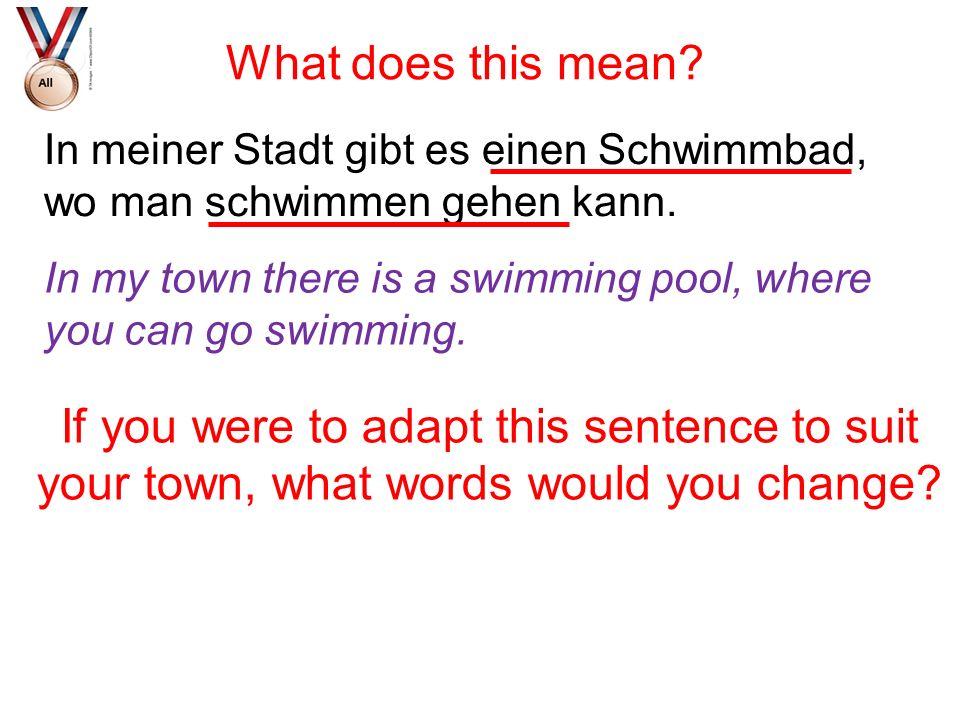 What does this mean In meiner Stadt gibt es einen Schwimmbad, wo man schwimmen gehen kann.