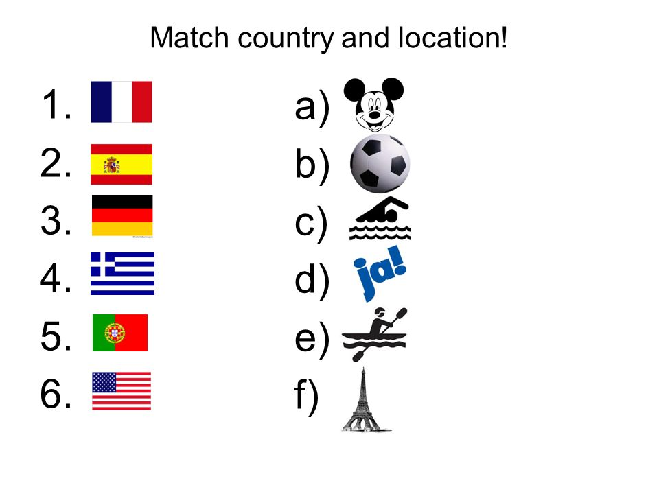 Match country and location!