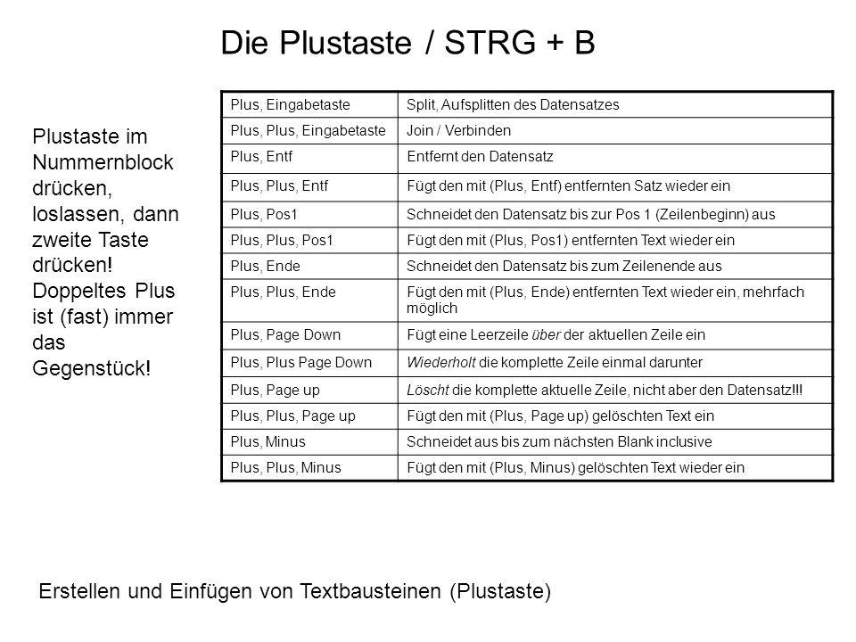 Die Plustaste / STRG + B Plus, Eingabetaste. Split, Aufsplitten des Datensatzes. Plus, Plus, Eingabetaste.