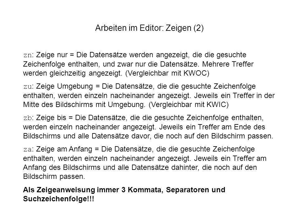 Arbeiten im Editor: Zeigen (2)
