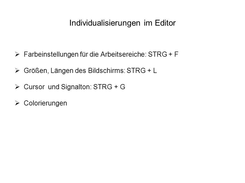Individualisierungen im Editor