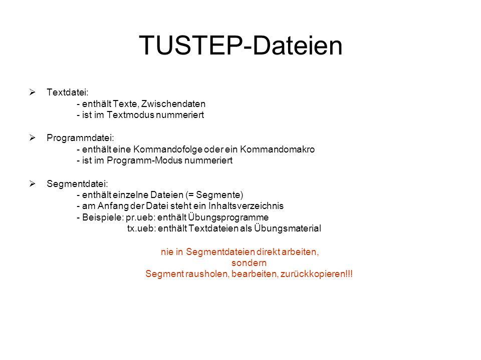 TUSTEP-Dateien Textdatei: - enthält Texte, Zwischendaten - ist im Textmodus nummeriert.