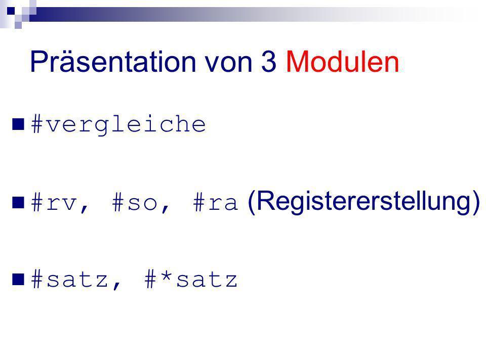 Präsentation von 3 Modulen
