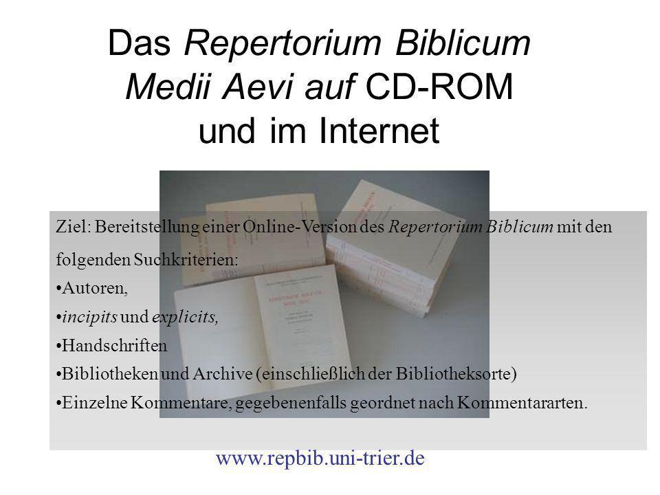 Das Repertorium Biblicum Medii Aevi auf CD-ROM und im Internet