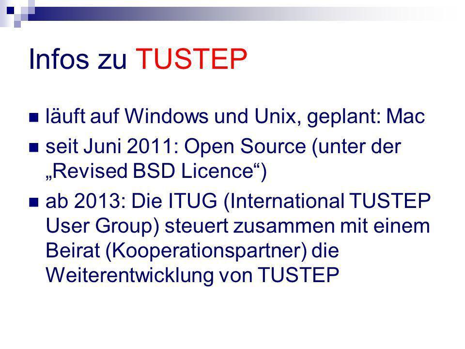 Infos zu TUSTEP läuft auf Windows und Unix, geplant: Mac