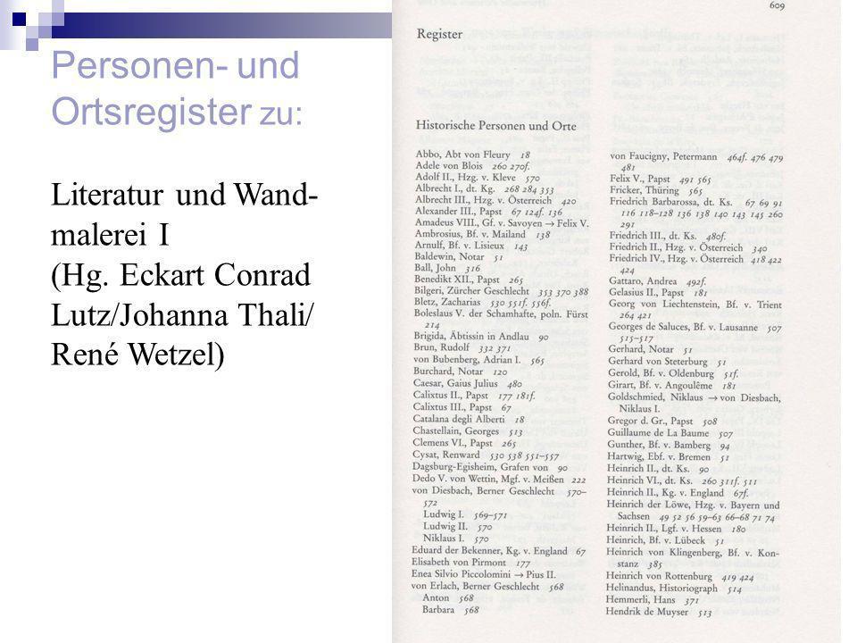 Personen- und Ortsregister zu: Literatur und Wand- malerei I
