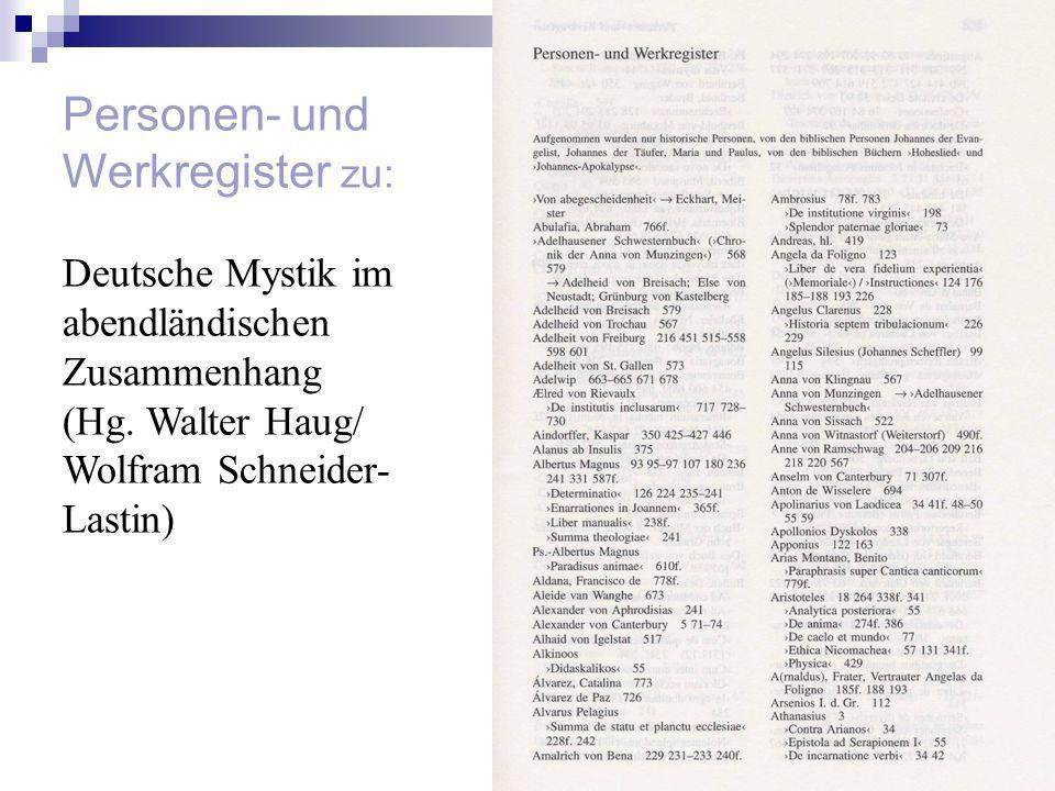 Personen- und Werkregister zu: Deutsche Mystik im abendländischen