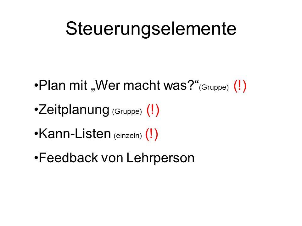 """Steuerungselemente Plan mit """"Wer macht was (Gruppe) (!)"""