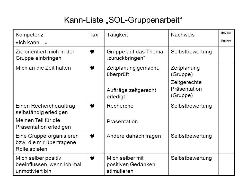 """Kann-Liste """"SOL-Gruppenarbeit"""