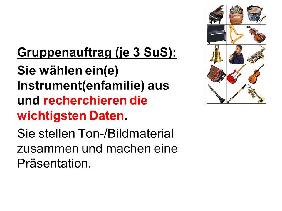Gruppenauftrag (je 3 SuS): Sie wählen ein(e) Instrument(enfamilie) aus und recherchieren die wichtigsten Daten.