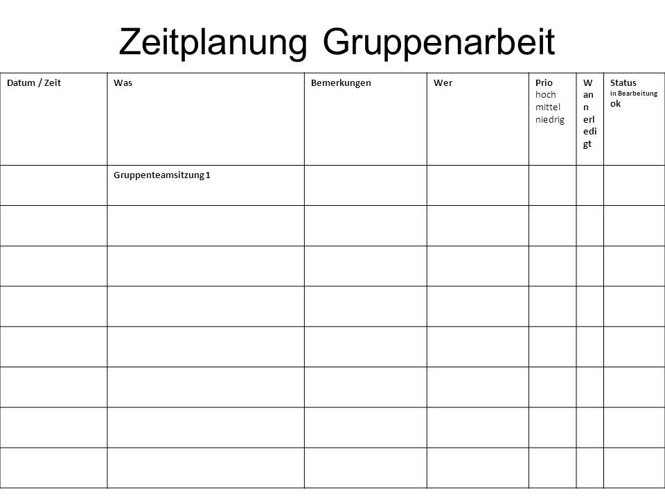 Zeitplanung Gruppenarbeit