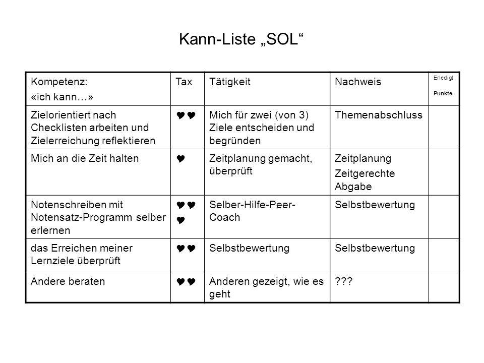 """Kann-Liste """"SOL Kompetenz: «ich kann…» Tax Tätigkeit Nachweis"""