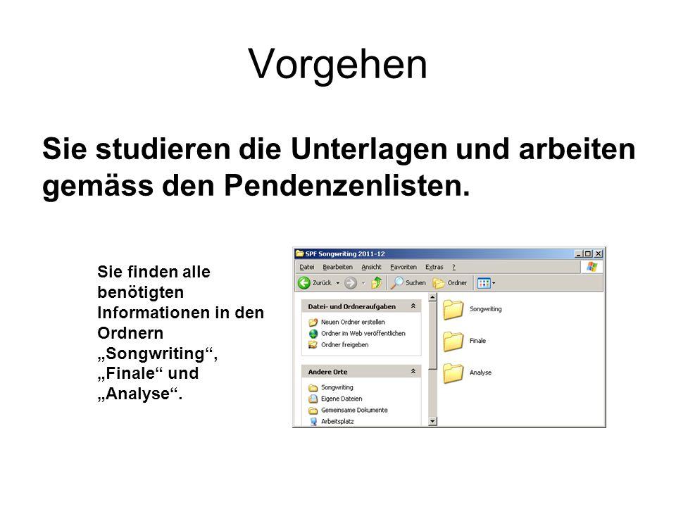 Vorgehen Sie studieren die Unterlagen und arbeiten gemäss den Pendenzenlisten.