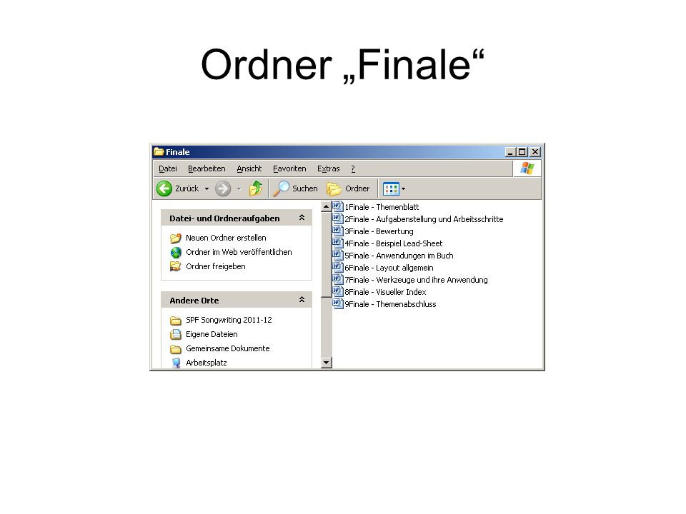 """Ordner """"Finale"""