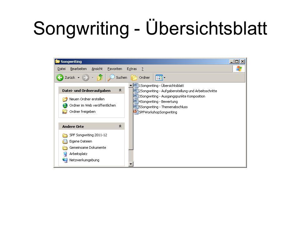 Songwriting - Übersichtsblatt