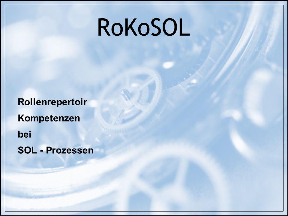 RoKoSOL Rollenrepertoir Kompetenzen bei SOL - Prozessen