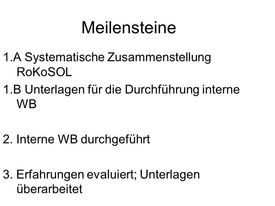 Meilensteine 1.A Systematische Zusammenstellung RoKoSOL