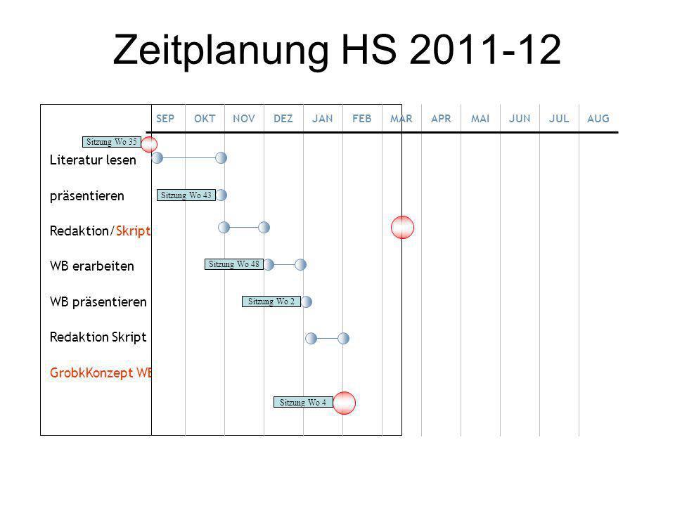 Zeitplanung HS 2011-12 Literatur lesen präsentieren Redaktion/Skript