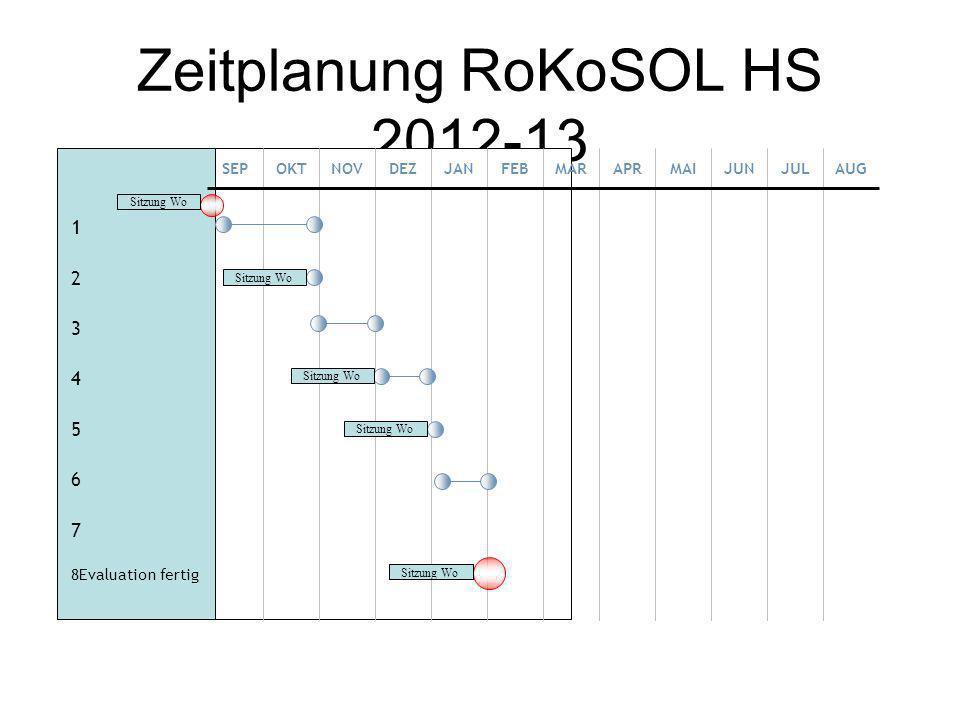 Zeitplanung RoKoSOL HS 2012-13