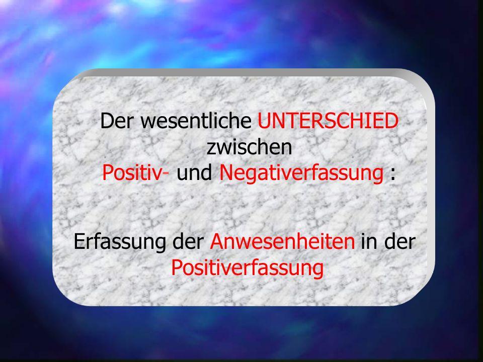 Der wesentliche UNTERSCHIED zwischen Positiv- und Negativerfassung :